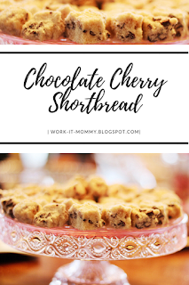 chocolate cherry shortbread recipe with sweet milk chocolate and tart cherries perfect for the holidays from Work it Mommy blog