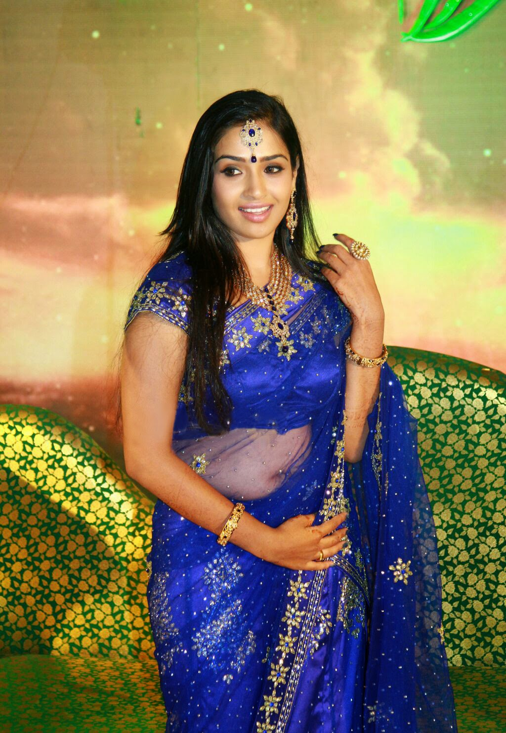 Malayalam Actress Hot Navel Show In Transparent Saree -2946