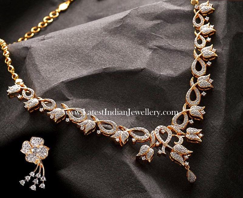 Lotus Floral Design Diamond Necklace