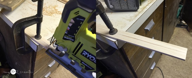 ripping paint stick with a jig saw