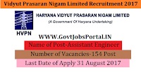 Haryana Vidyut Prasaran Nigam Limited Recruitment 2017– 154 Assistant Engineer