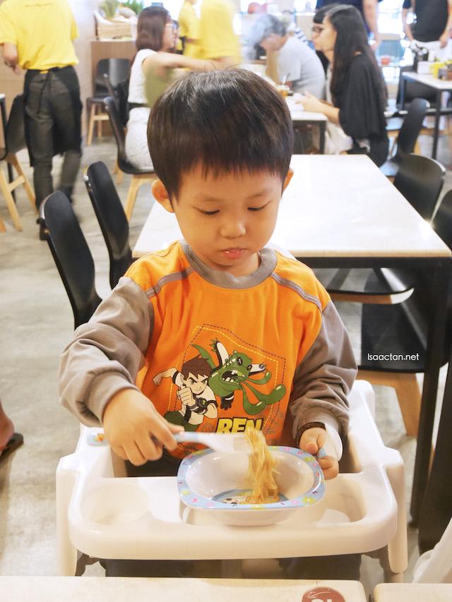 Martin, my kid having his meal