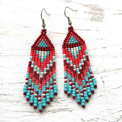 купить серьги из бисера купить украшения из бисера Россия beaded earrings