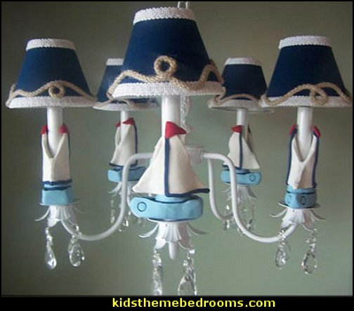 Nautical Sailboats Chandelier nautical baby bedroom decorating ideas - nautical nursery decor - nautical baby room accessories - nautical nursery bedding - girls nautical nursery - boys nautical nursery - nautical rugs - anchor nursery decor - ship wheel decor - nautical nursery wall decals