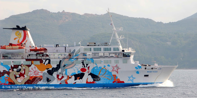 Passenger ferry decorated with comic characters.
