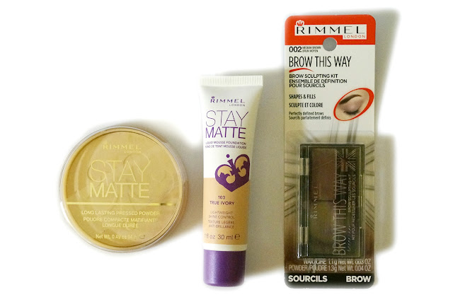Rimmel London Stay Matte Pressed Powder, Stay Matte Liquid Foundation, Brow This Way Brow Kit