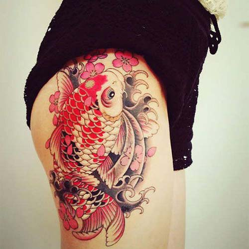thigh koi fish tattoos koi balığı dövmeleri