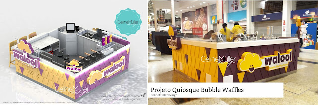 Projeto de quiosque para Shopping desenvolvido por Celine Muller Design para operação de Buble waffle