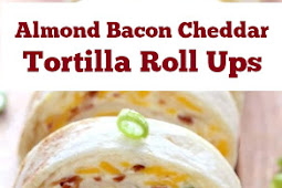 Almond Bacon Cheddar Tortilla Roll Ups #almond #bacon #tortillas #cheddar #rollups #partyfood