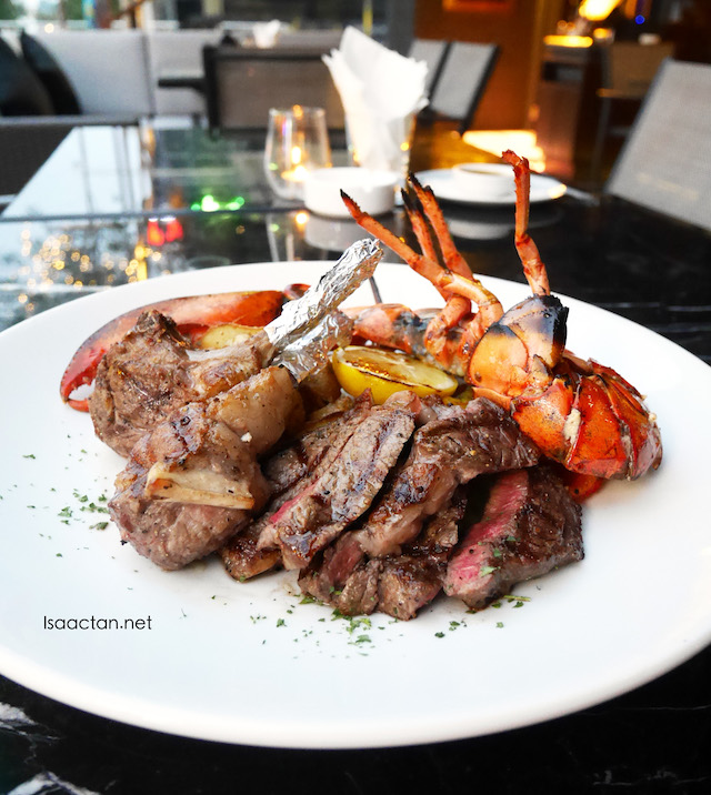 WOW Platter - Fresh Whole Lobster & US Black Angus Rib Eye Steak & Australian Rack of Lamb - RM398++