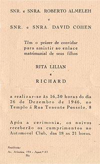 Convite de casamento dos pais, Rita Lilian e Richard Cohen. Rio de Janeiro, 26/12/1946.
