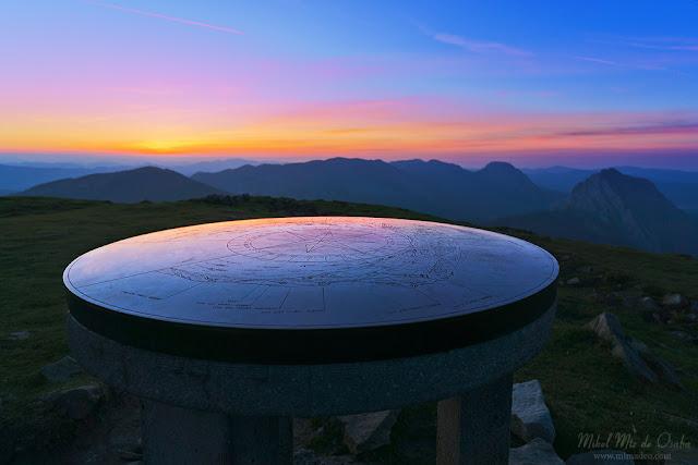 Mesa de orientación en el monte