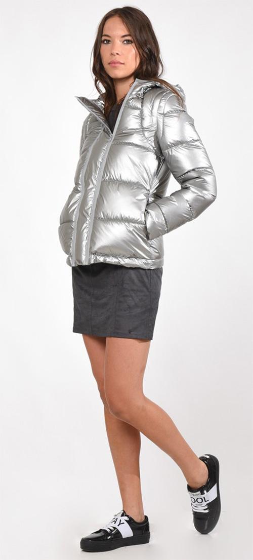 Doudoune femme gris argent à capuche Kaporal