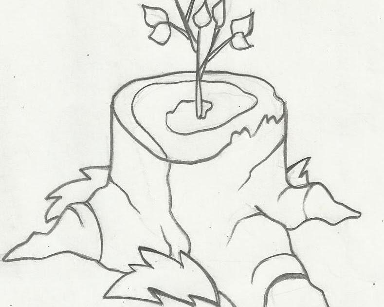 Desenho De Árvore Brotando Para Colorir