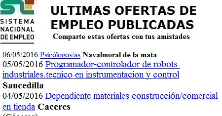 Navalmoral de la Mata, Saucedilla, Cáceres. Lanzadera de Empleo Virtual. Sistema Nacional de Empleo