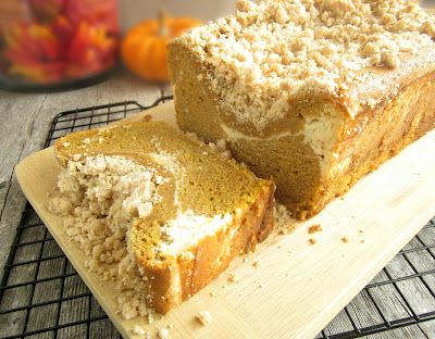 Pumpkin Streusel Bread with Cream Cheese Swirl