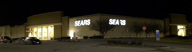 Sears store at night