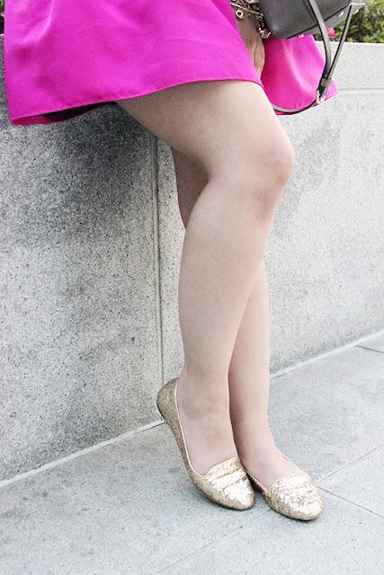 Kate Spade Gold Glitter Trick Flats