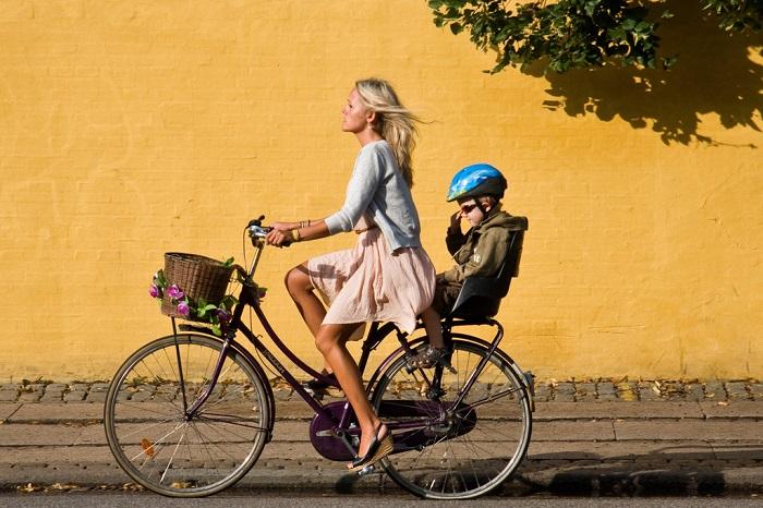прогулочная посадка на велосипеде