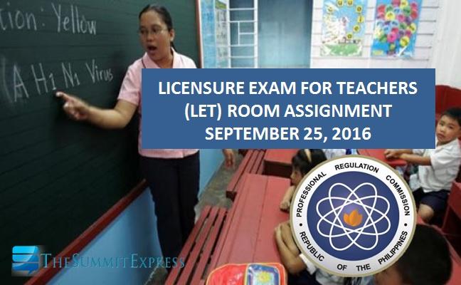 Room Assignment September 2016 LET Teachers board exam