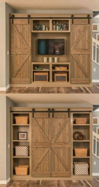 image result for full size sliding barn doors to cover TV