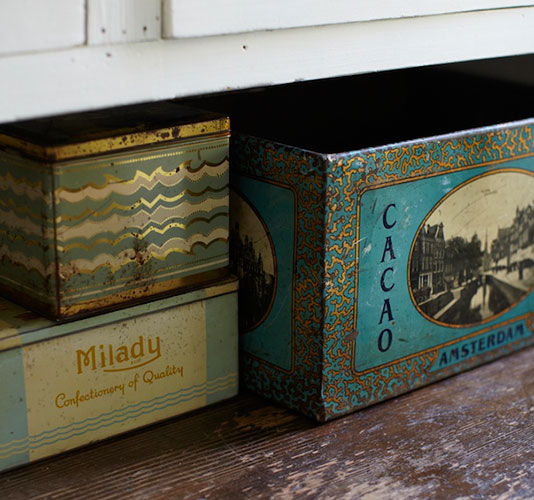 Vintage tins and boxes - found on Hello Lovely Studio