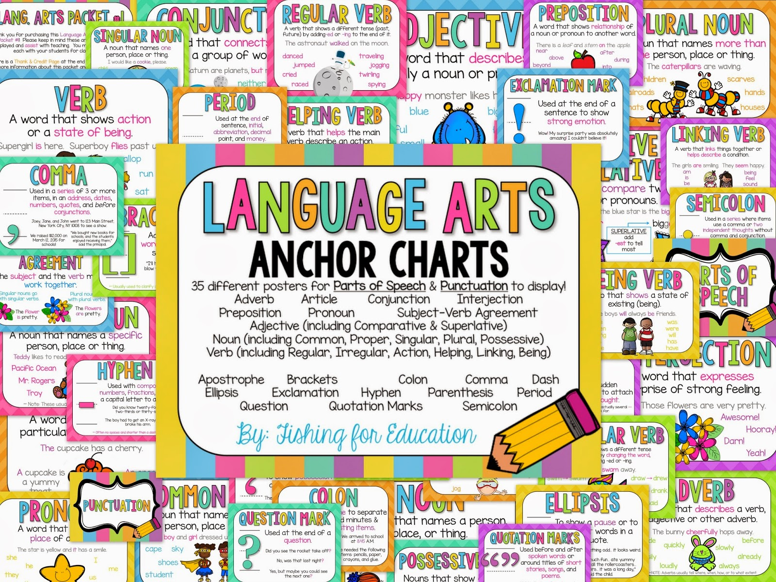 Fishing For Education Language Arts Anchor Charts Packet 1