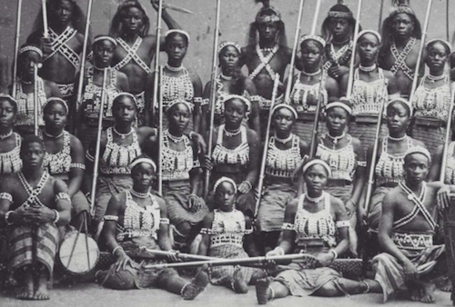 Photo of Dahomey warriors, the all-female king's bodyguard from Benin, 1891