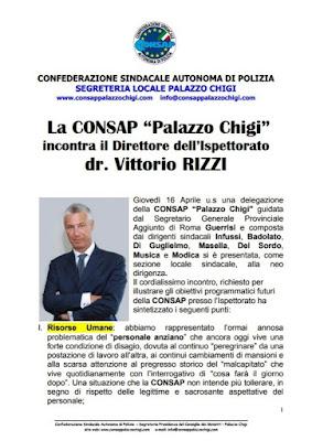 Comunicato CONSAP Palazzo Chigi del 18 Aprile 2015