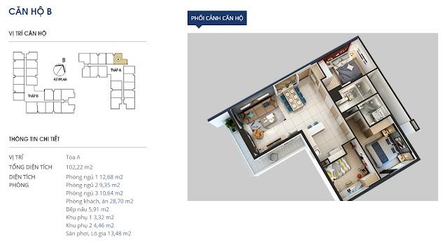 căn hộ b tòa A - 102,22m2
