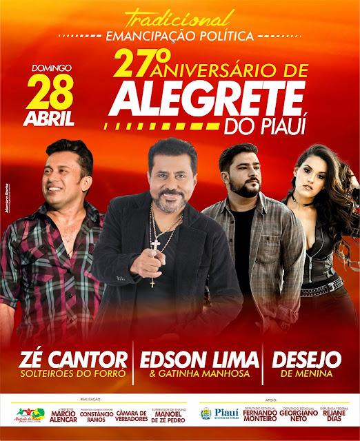 Alegrete do Piauí-Prefeito Márcio Alencar confirma três atrações para o aniversário de Alegrete do Piauí. Veja!