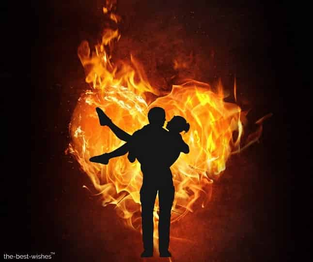 couple love romance image with burning heart