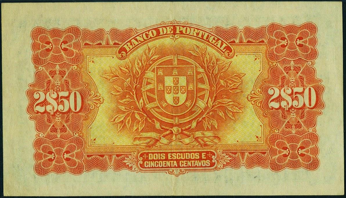 Portuguese currency 2 Escudos 50 Centavos banknote