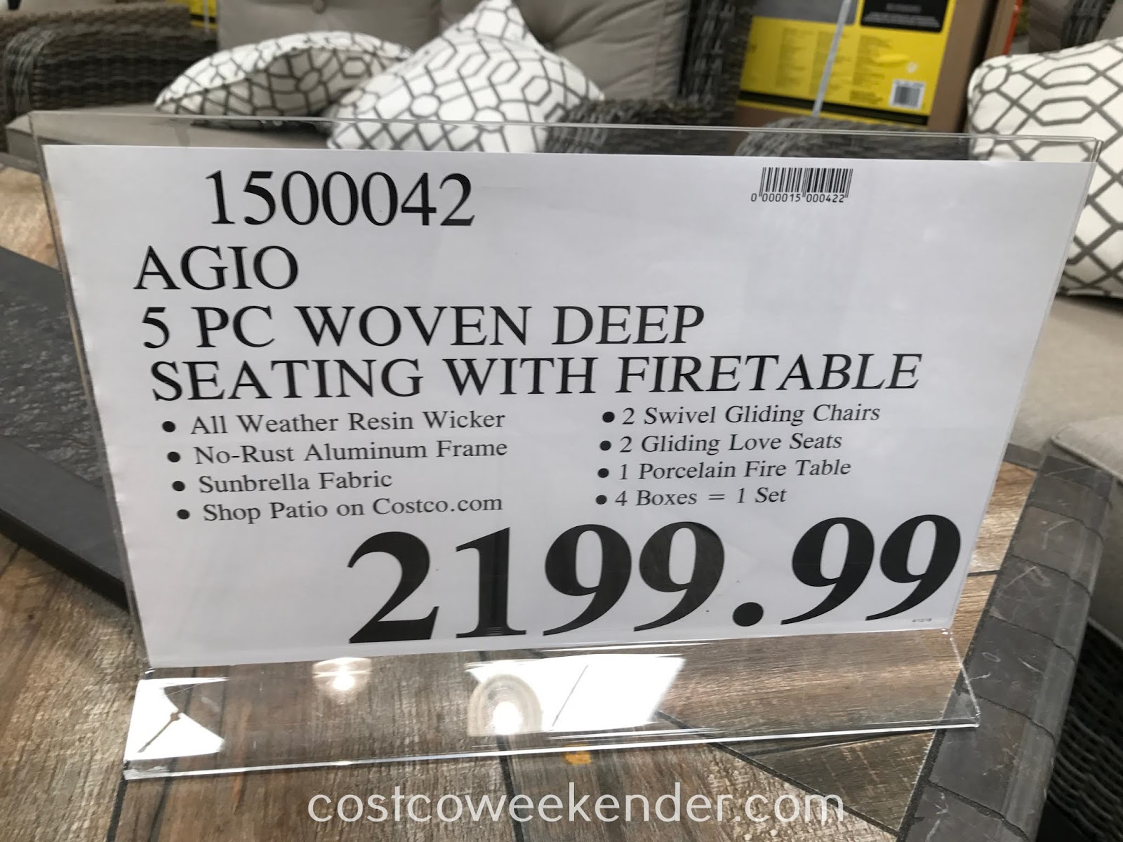 Deal for the Agio 5-piece Woven Deep Seating Set with Fire Table at Costco