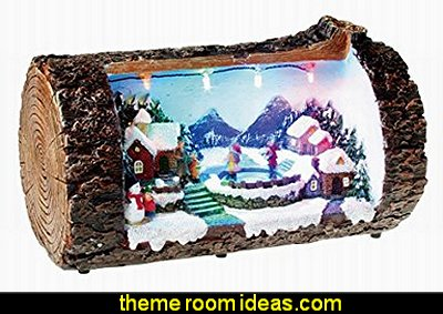 Lightahead Christmas Multi Color LED Lighted Rotating scene in a Log, Musical with 8 melodies Tabletop Centerpieces (Ice Skating)