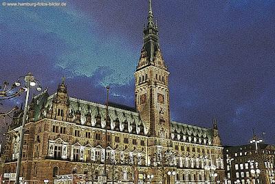 Rathaus Hamburg Comic Style