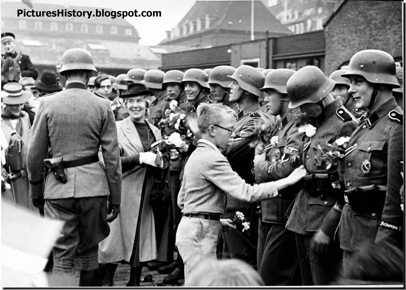 Danes greet soldiers SS Free Korps Denmark August 1942.