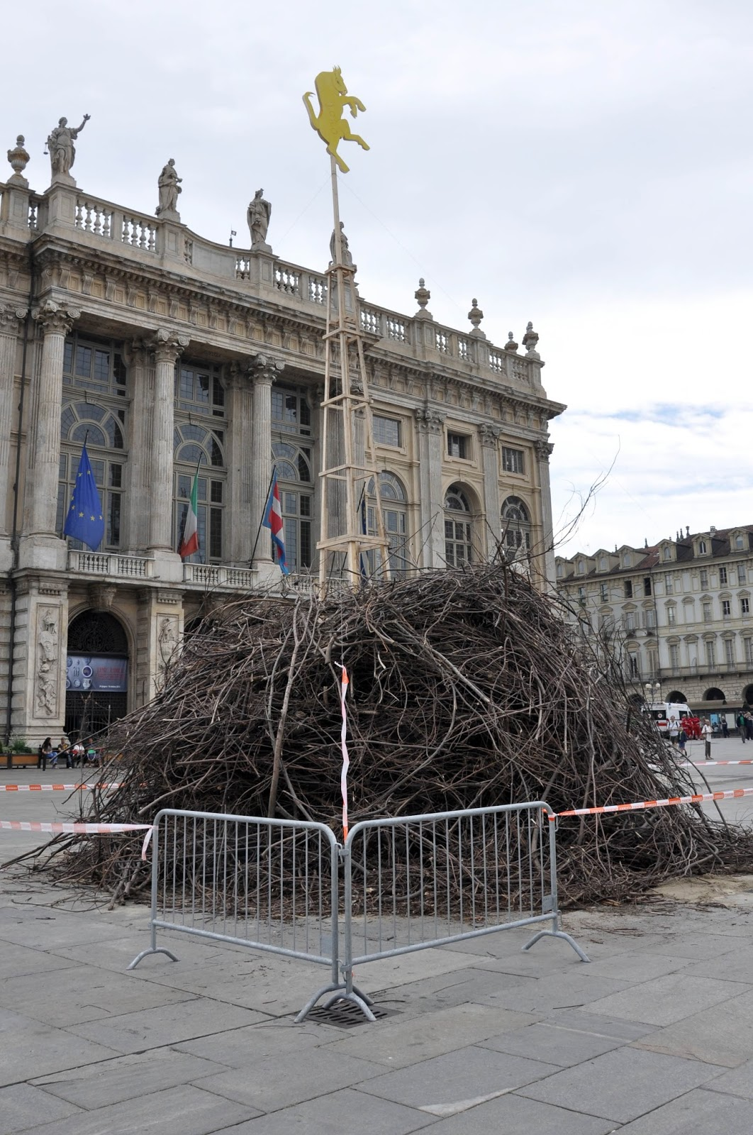 The bonfire on Piazza Castello for the Day of St. John, Turin, Italy