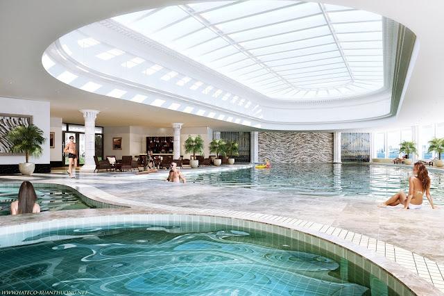 Bể bơi bốn mua chung cư Hateco Xuân Phương