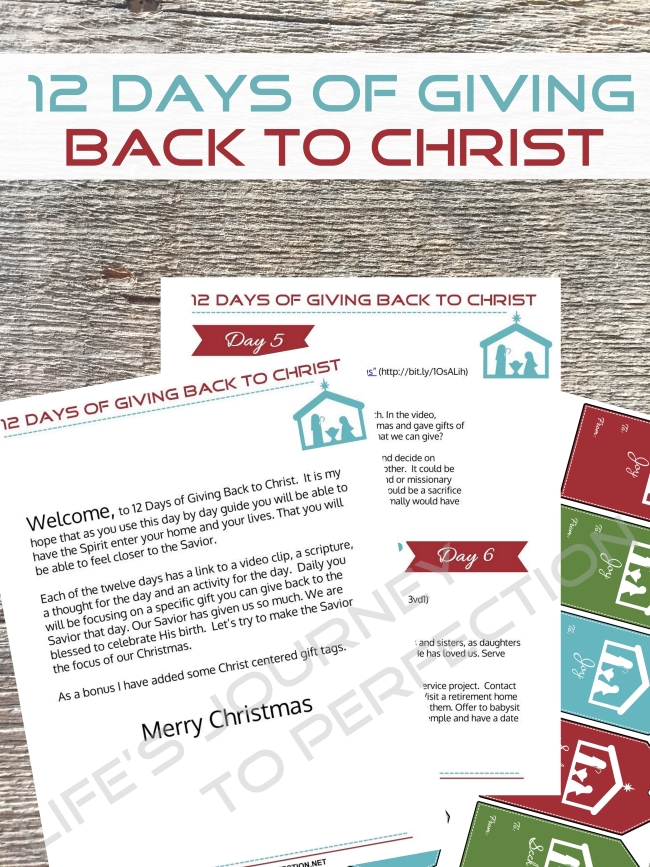 last year i created the 12 days of giving back to christ ebooklet as part of a christmas packet that was sold with a group of other bloggers - 12 Days Of Christmas Christian Version