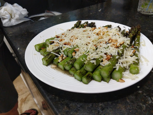 Grilled Asparagus with Pecorino and Pine Nuts