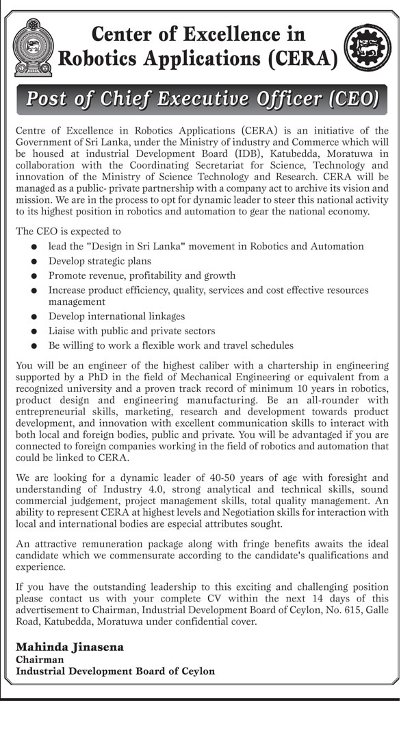 Sri Lankan Government Job Vacancies at Industrial Development Board of Ceylon for Chief Executive Officer