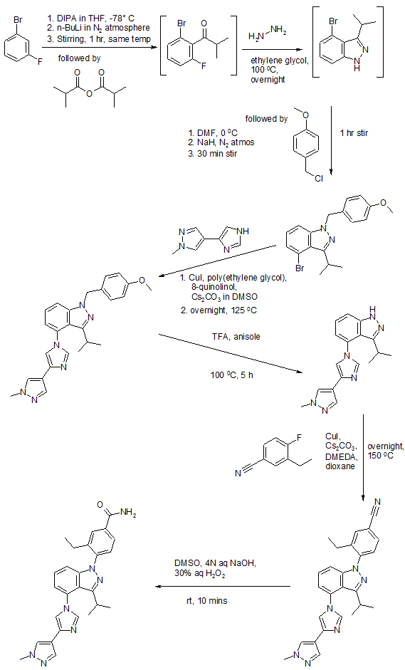 Synthesis of TAS-116 from US20130289072
