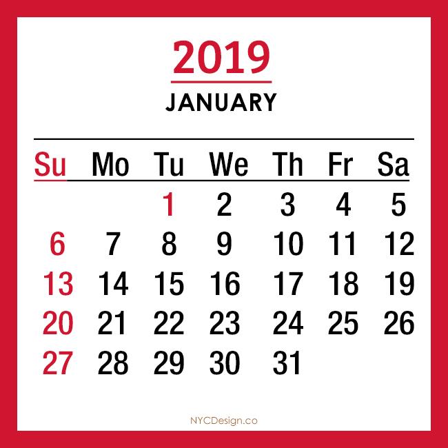 New York Web Design Studio New York Ny 2019 Calendar Printable