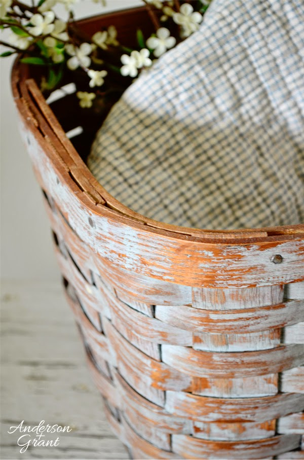 The corners of this basket received the most distressing to make it appear old. | www.andersonandgrant.com