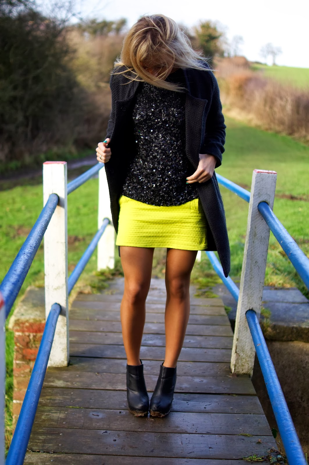 Emtalks: Neon Skirt And Sequins: Outfit Of The Day