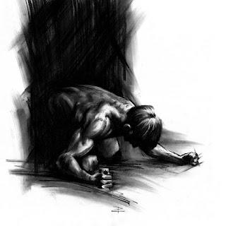 gambar lukisan pensil seorang lelaki yang kecewa hitam putih