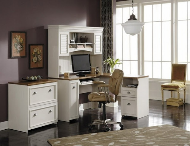 best buy Martha Stewart white office furniture with hutch for sale