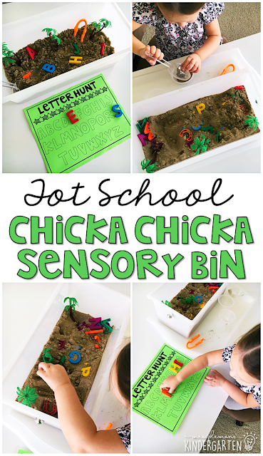 We LOVE this Chicka Chicka Boom Boom sensory bin. Great for tot school, preschool, or even kindergarten!