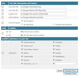 Isi form sesuai data situs atau blog Anda
